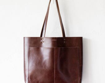 Large Luxury Brown Leather Tote, Genuine Leather Bag,  Brown Leather Bag, Front Pocket Bag, Handmade Bag, Travel Bag, Oversized
