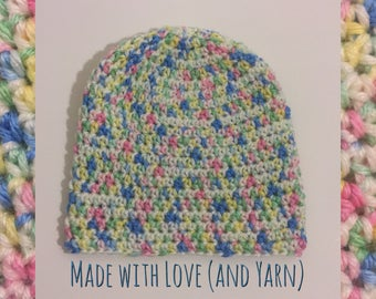 Toddler Handmade Crochet Knit Soft Warm Simple Slouch Winter Hat/Toque/Beanie - Pink/Blue/Yellow/Green/White