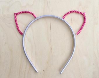 Pink Pearl Cat Ears Headband, Pink Cat Ears, Bachelorette, Valentine's Day