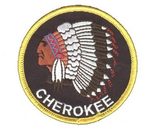 """Cherokee """"Indian"""" Patch - Native American with Headdress (Iron on)"""