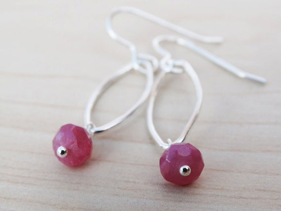 Silver & Ruby Drop Earrings - Sterling Silver