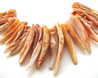 Pink shell sticks, 25 plus beads, natural shell - #151
