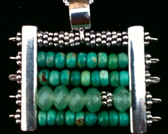 Abacus necklace of jade, turquoise and sterling silver