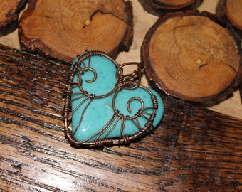 Turquoise Wire Wrapped Heart Pendant