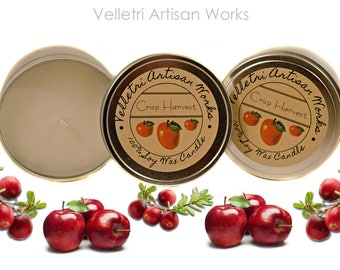 Crisp Harvest Fall Scents of Apples & Cranberry crisp 100% Soy Candle wax in Silver Tin with Kraft Brown Label by Velletri Artisan Works