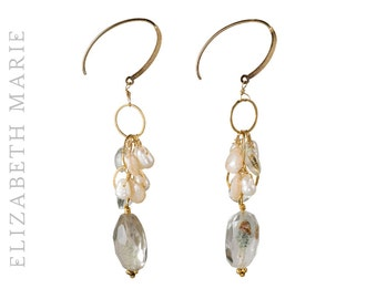 Freshwater Pearl and Lodolite on 14K Gold Filled French Earwire