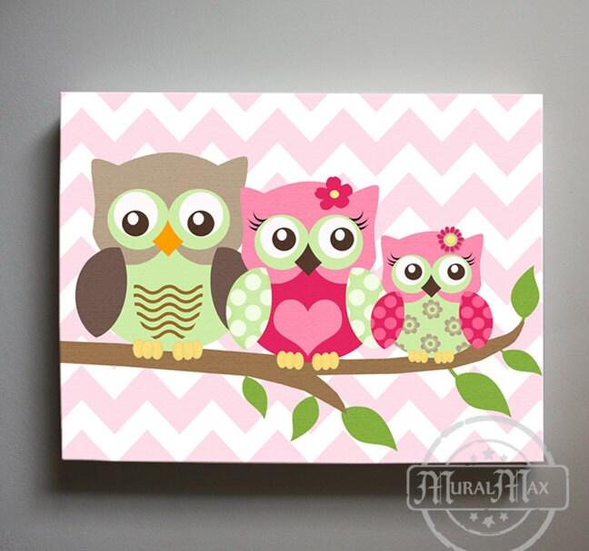 Owl Decor Girls Wall Art Canvas Nursery