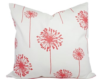 Coral Throw Pillows - Coral Dandelion Decorative Throw Pillows - Couch Pillows - Accent Pillow - Coral Pillows 16x16 18x18 20x20 22x22 24x24