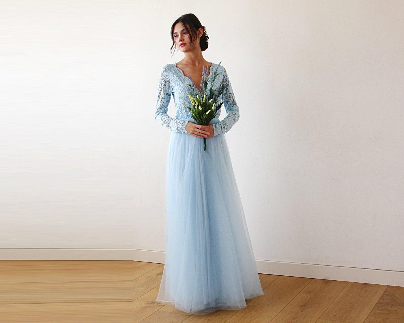 Lange Ärmel Maxi Kleid hellblau Tüll und Spitze Tüll und