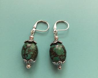 Vintage Earrings/Turquoise Earrings/Silver Earrings/Art Deco Earrings/Statement Earrings/Boho Earrings/Stone Earrings/Dangle Earrings