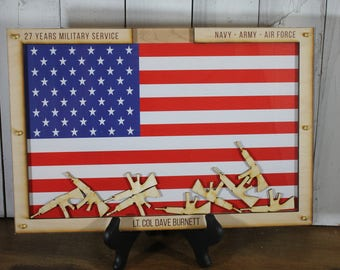 In Time for Christmas/Personalized Guest Book/Flag/Navy/Coast Guard/Army/Air Force/Military/Retirement/Guest Book/Wood Shape/Rifle
