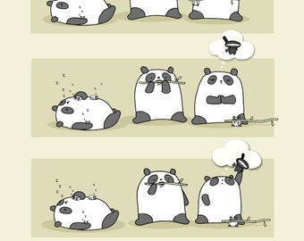 A Bored Panda Invents Ninjas Art Print