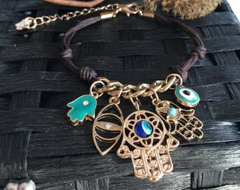 Gold and leather Hamsa bracelet, Protection Bracelet