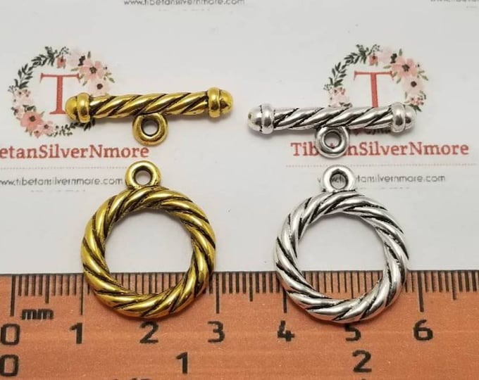 6 pairs per pack 20mm and 16mm inner loop Medium Cable Twist Toggle Antique Silver or Gold Finish Lead free Pewter