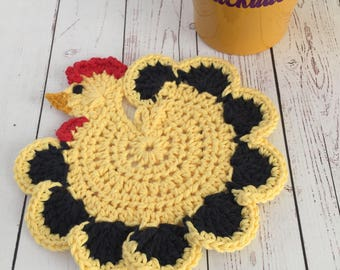 Chicken truvet,yellow,black,hot pad,table protector,kitchen decor,gift for her,gifts under 20