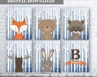 WOODLAND Animals Personalised Name Initial Wall Art Print-Set of Six (6) - Digital Download. Woodland Creatures Wall Art Printable. Navy Art