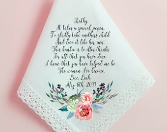 Wedding Handkerchief, Step Mother, Step Mom, Thank you for loving me as your own, Printed Hankie, Parents Thank you Gift, Mom Hankie- 65