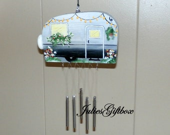 Black & Gray Hand Crafted Wood Travel Trailer Camper Wind Chime Hand Painted-Indoor/Outdoor-Fathers Day-One of a Kind-Summer Camping
