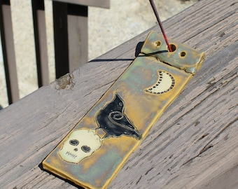 Raven and Skull Ceramic Incense Holder