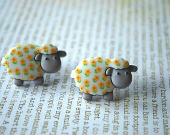 Sheep Earrings -- Sheep Studs, Lamb Earrings, Lamb Studs, Animal Lover