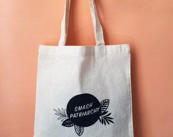 Smash Patriarchy Screen Printed Canvas Tote Bag