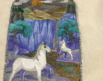 Embroidered tote bag unicorns by the waterfall