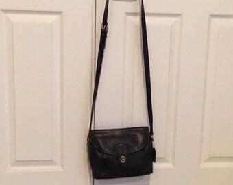 Vintage Coach Black Soft Leather Messenger 1980s Shoulder Bag Purse #9908