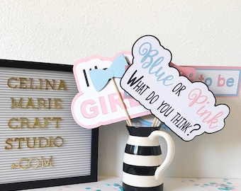 Gender Reveal Photo Booth Props | Photo Booth Props | Gender Reveal Decor | Gender Reveal Ideas | Baby Blue | Baby Pink | Party Decor