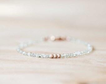 Delicate Lemon Quartz Bracelet with Rose Gold Fill or Sterling Silver, Stacking Gemstone Bracelet, Quartz Jewelry, Yellow Gemstone Bracelet