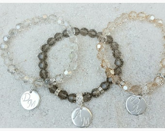 Swarovski Crystal Stretch Stackable Bracelet with Sterling Silver Plated Hand Stamped Charm