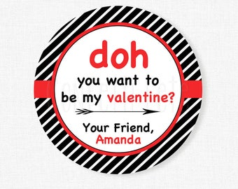 Play Doh Valentine Tags, Valentine's Day Tag, Doh you want to Valentine Tag, Class Valentine Tag, Personalized