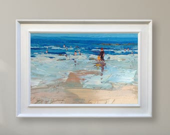 Abstract Beach Painting Ocean Painting Sea Painting Modern Painting Oil Painting Seascape Painting People on the Beach Scene Abstract Art