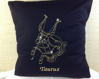 Taurus Zodiac Sign - The Bull, 16 x 16 Pillow Cover, April 20 - May 20, Embroidered, Metallic Thread