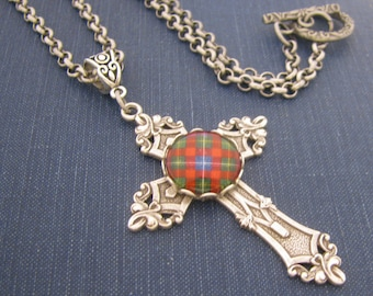 """Scottish Tartan Jewelry - Forrester Clan Tartan Antique SIlver Ornate Filigree Cross Necklace w/choice of 18"""" or 22"""" Rolo Chain"""
