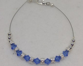 Sapphire Swarovski Crystal Anklet