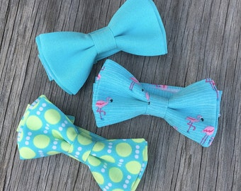 flamingo bow tie - Aqua Blue bow tie - Easter Tie - Summer Wedding - Summer bow tie - ring bearer bow tie - blue bow tie - ties