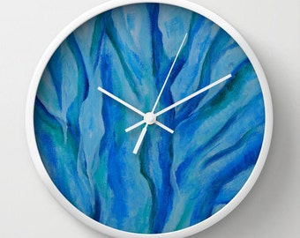 Blue wall clock, abstract painted tree design, artists gift, decorative time telling wall art
