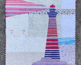 Liberty Quilt Kit/Lighthouse Quilt Kit/Quilted Wall Hanging/Focus Fabric Kit/Quilt Pattern/Coastal Decor/Fusible Applique/Use Both Sides