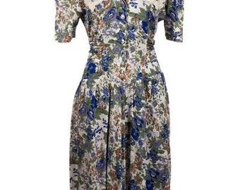 Vintage 1990's Floral Day Dress with Square Embroidered Lace Edged Collar