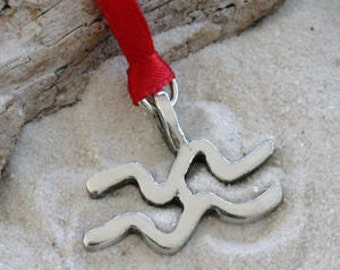 """Pewter Aquarius """"The Water Carrier"""" Zodiac Astrology Sun Sign of January February Christmas Ornament and Holiday Decoration (27A)"""