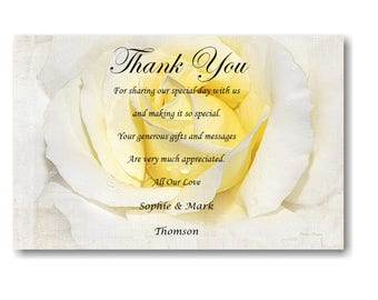 30 Personalised Wedding Day , Wedding Evening Thank You Thankyou Cards Ref W7 With self seal envelopes