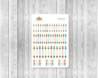 S040 -  56 Crayon Planner Stickers