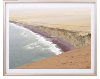 Desert Meets Ocean, Desert Photo, Peru Photography, Desert Wall Print, ocean photography, international landscape, desert art, home decor
