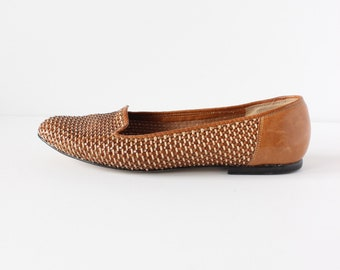 Vintage 9West Woven Leather Slip On Loafer Flats, size 8.5