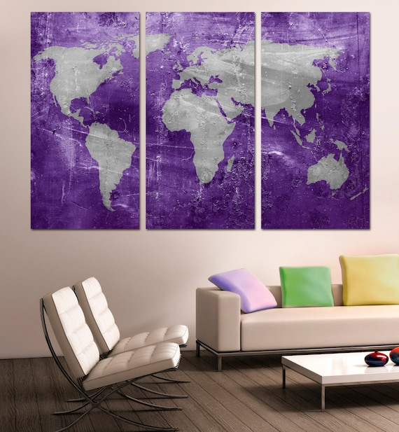 Purple and silver world map canvas print 3 panel split gumiabroncs Images