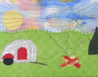 Teardrop Camper - Quilt Art - Campfire Postcard Art - Gift for Him - Landscape Art - Custom Art - Rustic Landscape - Home Decor - Man Gift