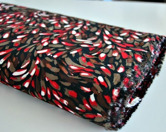 Fabric - Brown, Red and White