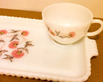 Fire King Anchor Hocking Fleurette Design- Milk Glass Snack Tray with Cup