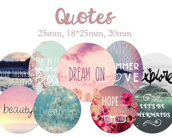 """Cabochons collage sheet / digital """"Quotes, quote, dream, hope, life"""" round"""