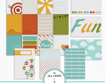 Digital journaling cards Theme park kit, Amusement park, Project Life, pocket cards, festival, carnival,  journal cards, scrapbook online